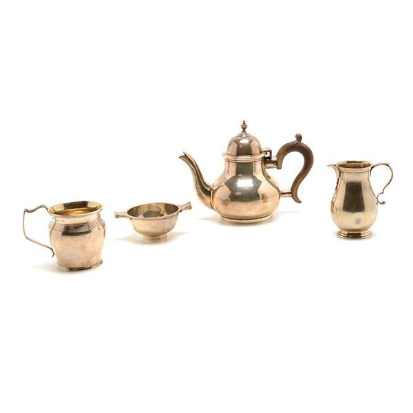 Four English Sterling Silver Tea Wares