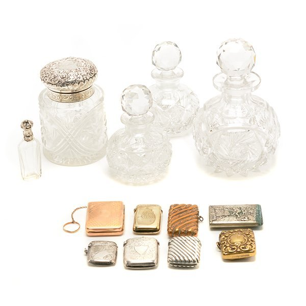 Five Glass Scent Bottles and Eight Match Safes
