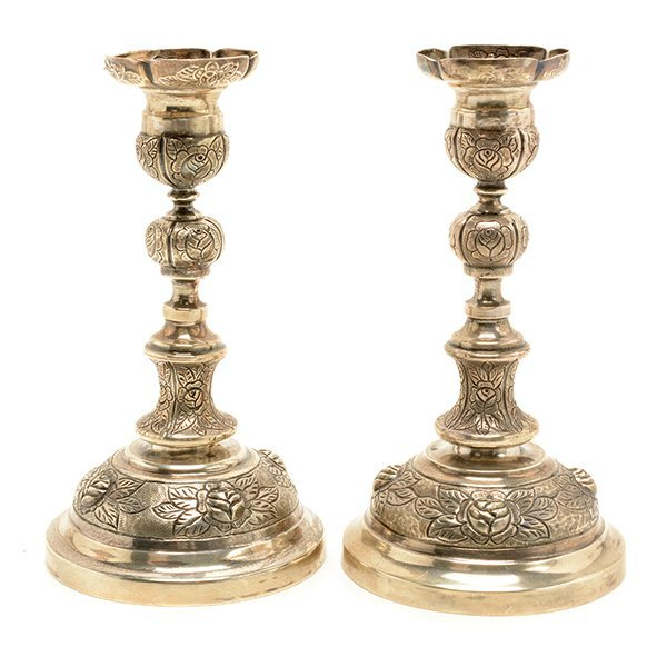 Pair of Sanborn Mexican Sterling Silver Candlesticks