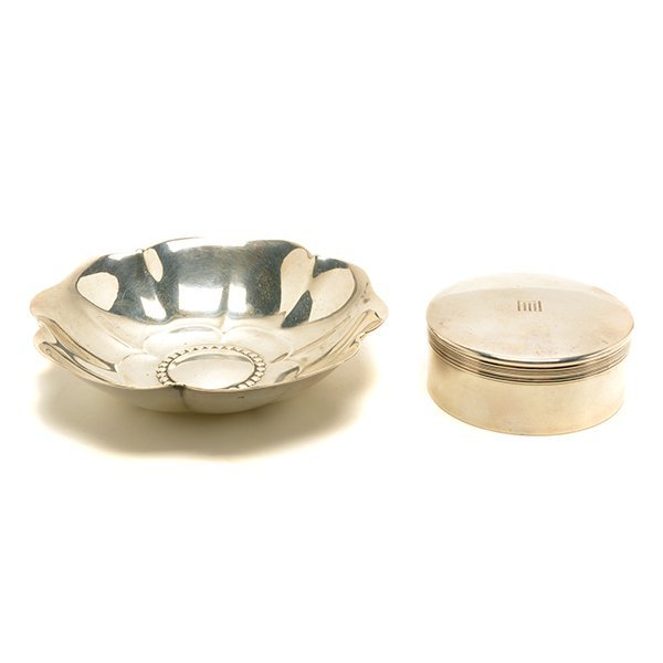 Tiffany Sterling Silver Floriform Dish and Box