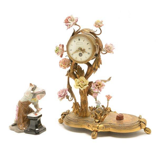 French Porcelain Floral Encrusted Gilt Bronze Mantle