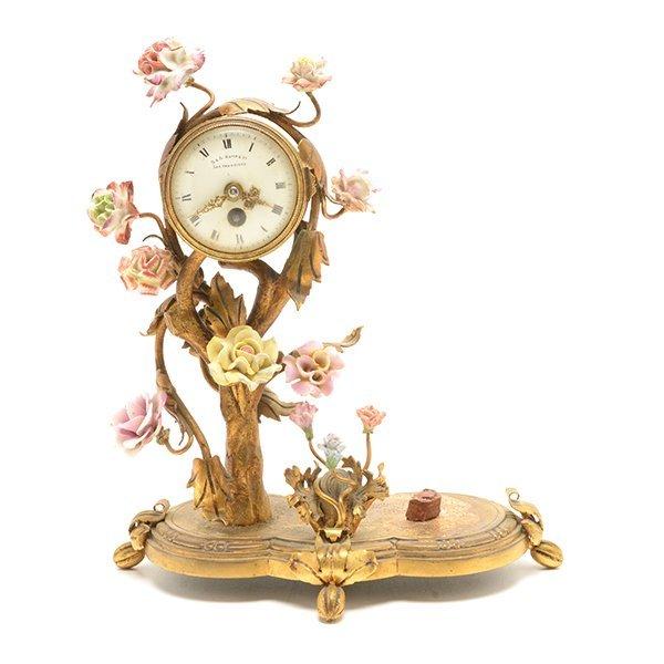 French Porcelain Floral Encrusted Gilt Bronze Mantle - 2