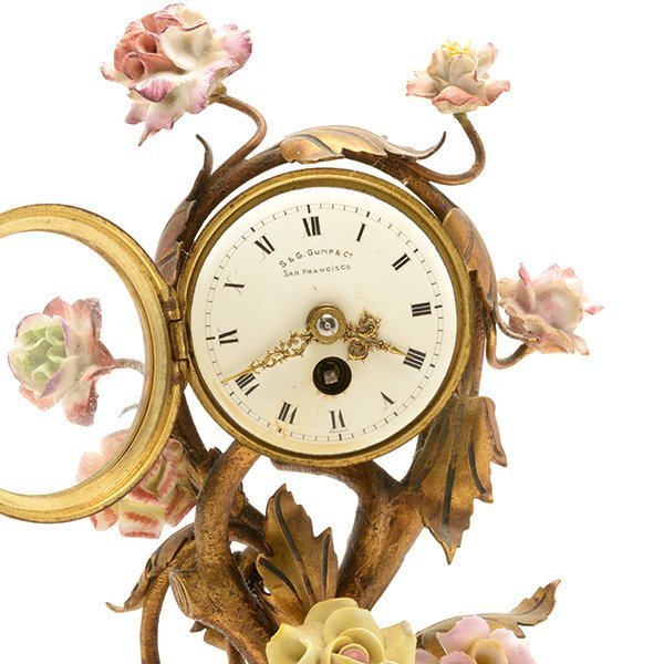 French Porcelain Floral Encrusted Gilt Bronze Mantle - 3