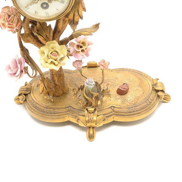 French Porcelain Floral Encrusted Gilt Bronze Mantle - 4