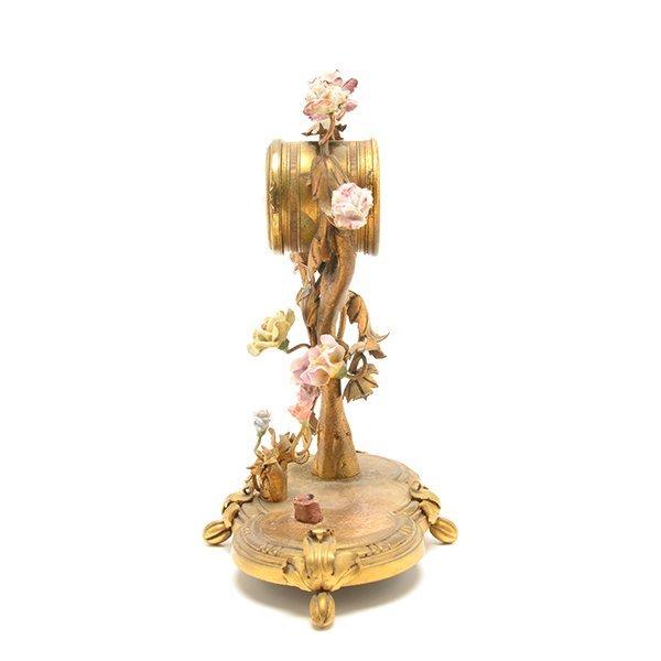 French Porcelain Floral Encrusted Gilt Bronze Mantle - 5