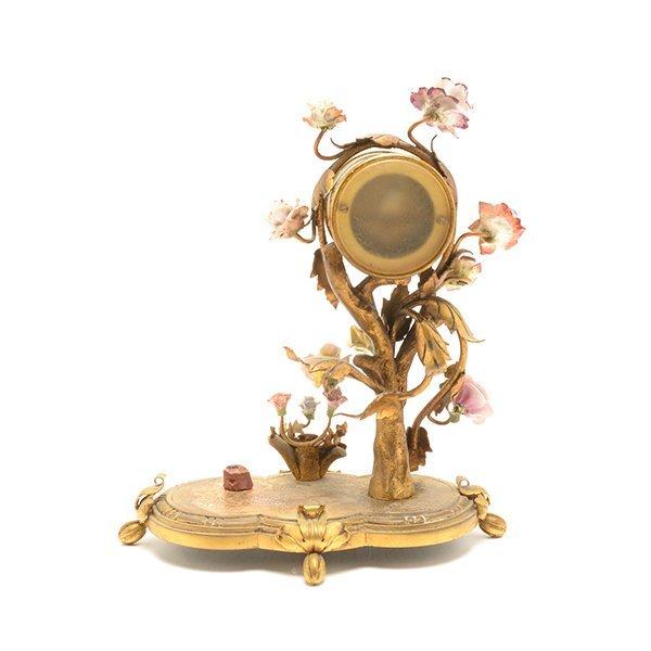 French Porcelain Floral Encrusted Gilt Bronze Mantle - 6