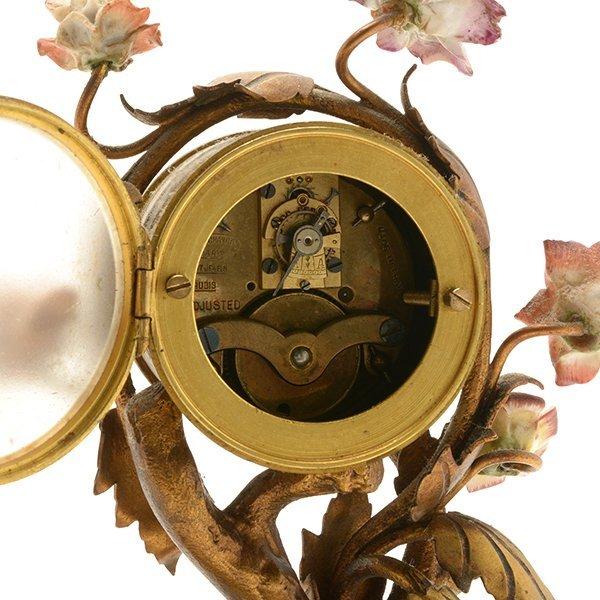 French Porcelain Floral Encrusted Gilt Bronze Mantle - 7