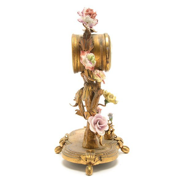 French Porcelain Floral Encrusted Gilt Bronze Mantle - 9