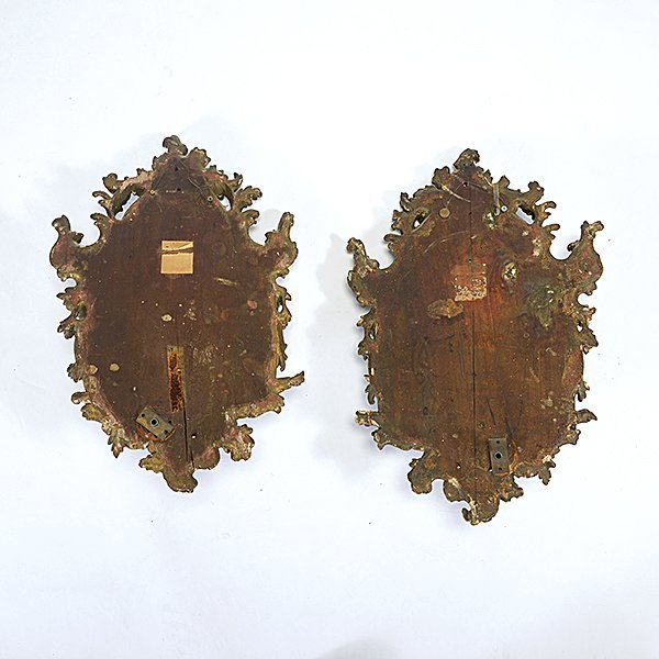 Pair of Tole Floral Giltwood Single Light Sconces - 5
