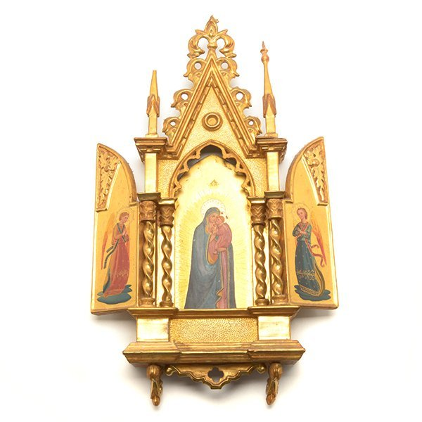 Gothic Style Giltwood Altar Picturing Madonna with