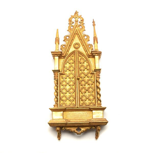 Gothic Style Giltwood Altar Picturing Madonna with - 5