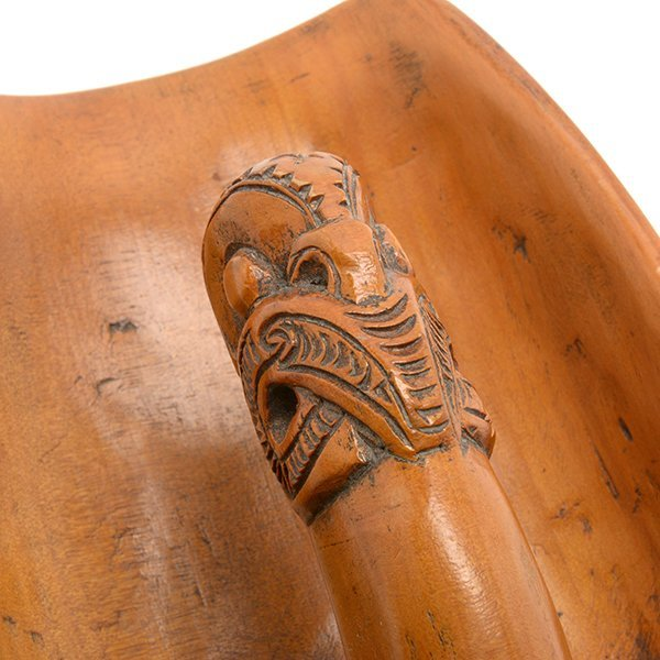 Maori Mother of Pearl Inlaid Carved Wood Bailer Scoop - 3