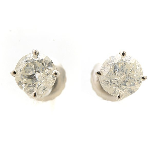 Pair of Diamond, 14k White Gold Stud Earrings.