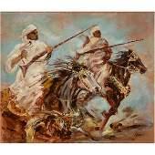 "Robert Barnete ""Two Arabs on Horses"" oil on canvas laid"