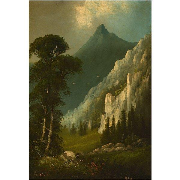 """Edwin Deakin """"Indian Rock"""" oil on canvas"""