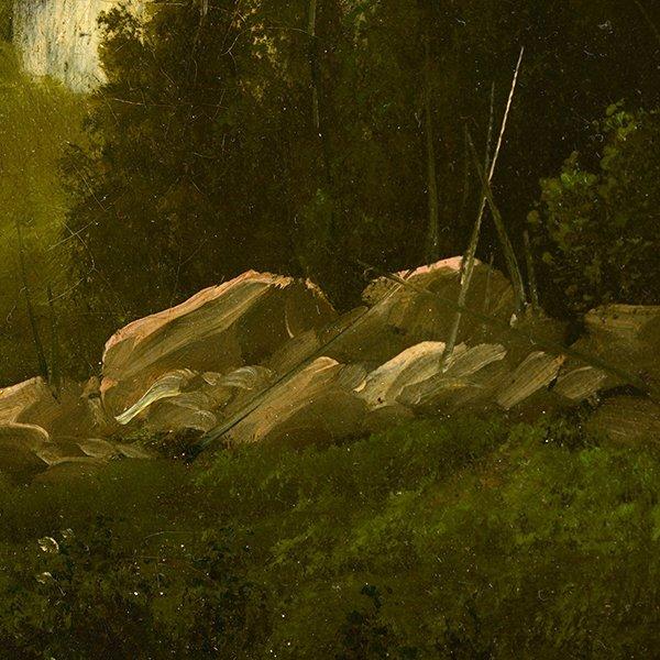"""Edwin Deakin """"Indian Rock"""" oil on canvas - 4"""
