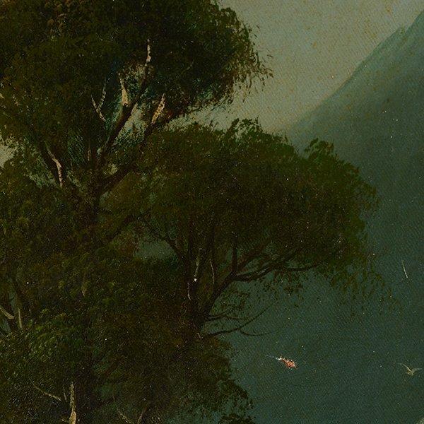 """Edwin Deakin """"Indian Rock"""" oil on canvas - 7"""