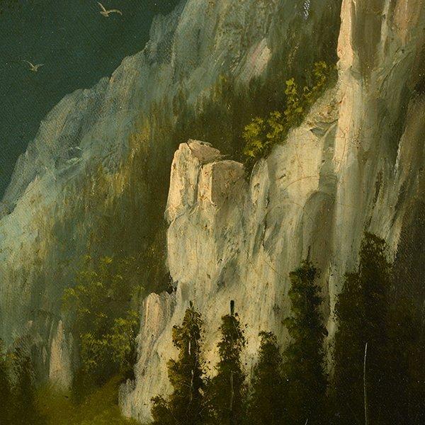 """Edwin Deakin """"Indian Rock"""" oil on canvas - 8"""