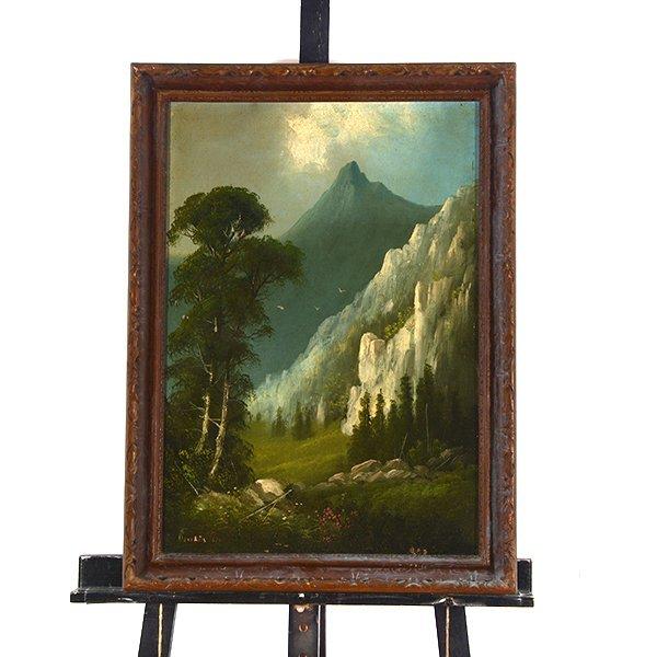 """Edwin Deakin """"Indian Rock"""" oil on canvas - 9"""