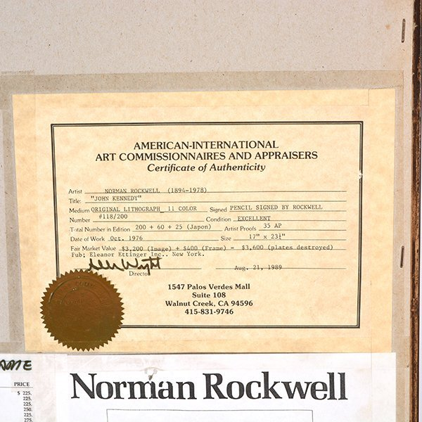 "Norman Rockwell ""John Kennedy"" lithograph - 9"