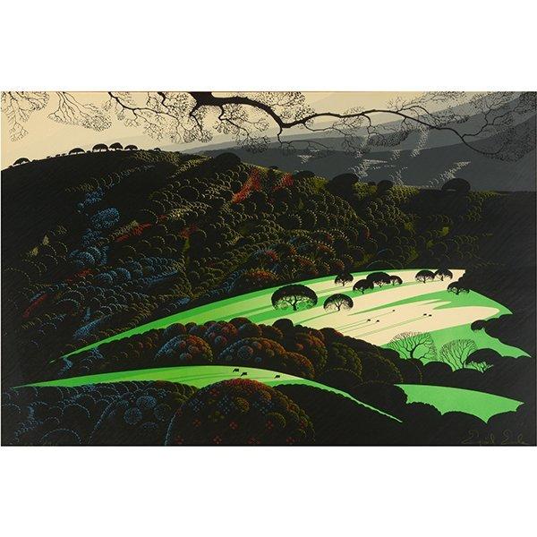 "Eyvind Earle ""Green Valley"" serigraph"