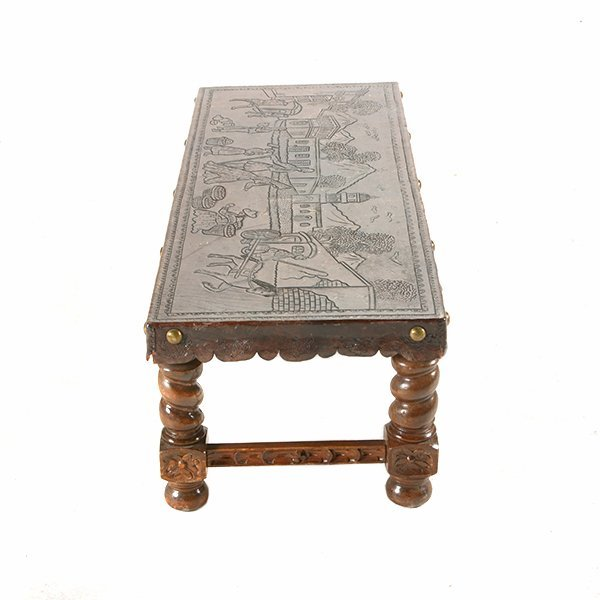 Spanish Baroque Style Bench with Tooled Leather Seat - 10