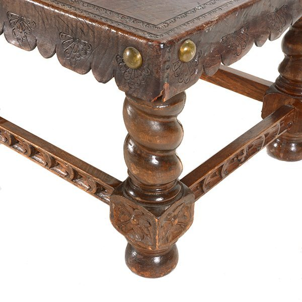 Spanish Baroque Style Bench with Tooled Leather Seat - 4