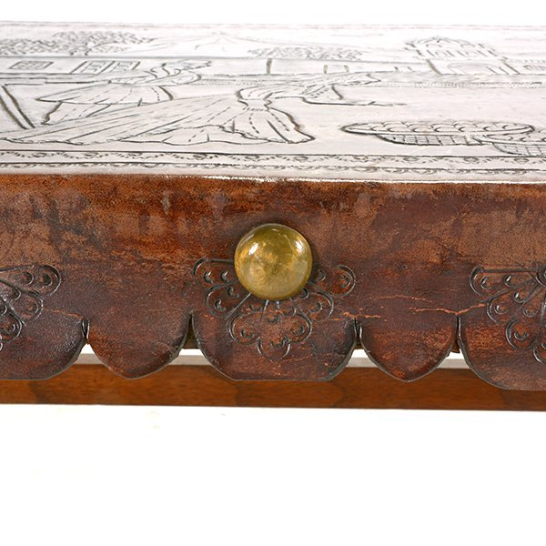 Spanish Baroque Style Bench with Tooled Leather Seat - 5