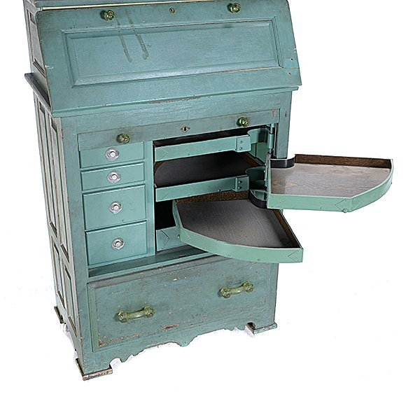 Harvard Green Polychrome and Gilt Painted Dental - 5