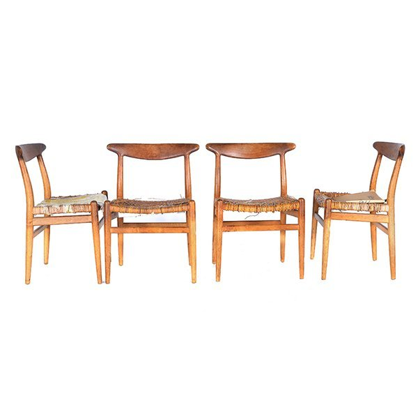 Four Danish CM Madsens Hans Wegner Teak and Oak Dining