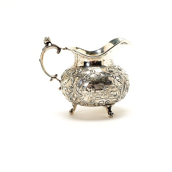 German Cased 800 Silver Fruit Set, Tray, and Creamer - 5