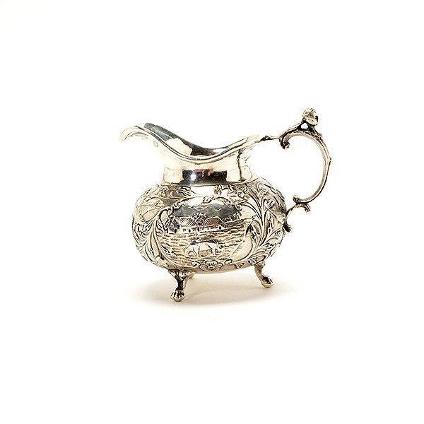 German Cased 800 Silver Fruit Set, Tray, and Creamer - 6