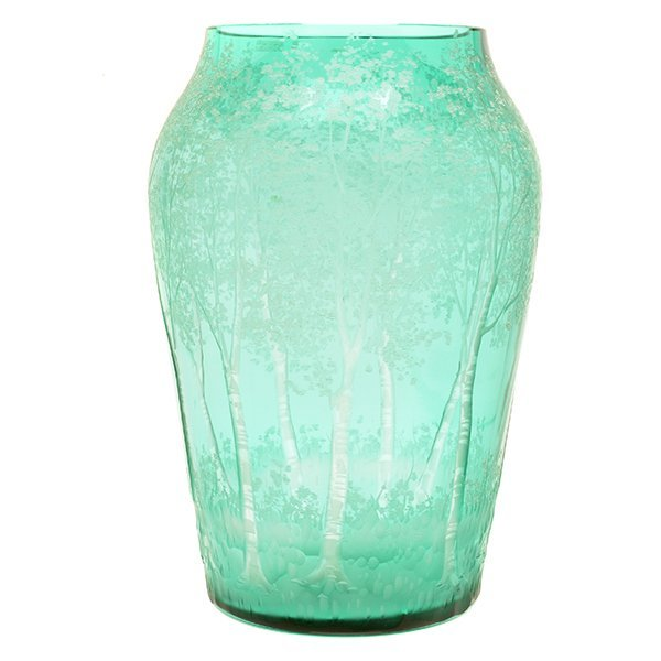 Steuben Glass Vase Engraved with Trees