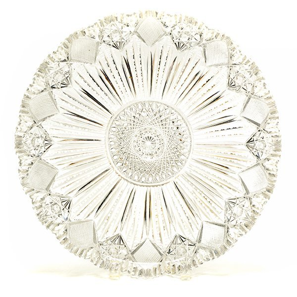 American Brilliant Cut Glass Circular Tray, Circa 1905