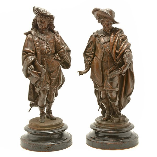 Pair of Patinated Bronze Figures of Renaissance