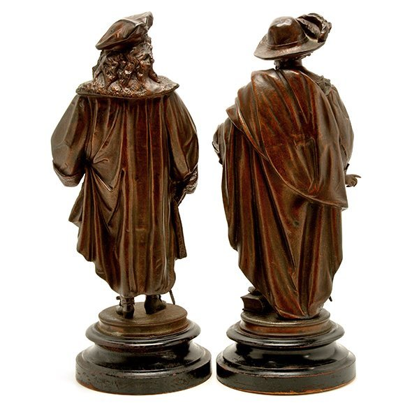 Pair of Patinated Bronze Figures of Renaissance - 4