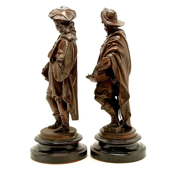 Pair of Patinated Bronze Figures of Renaissance - 5