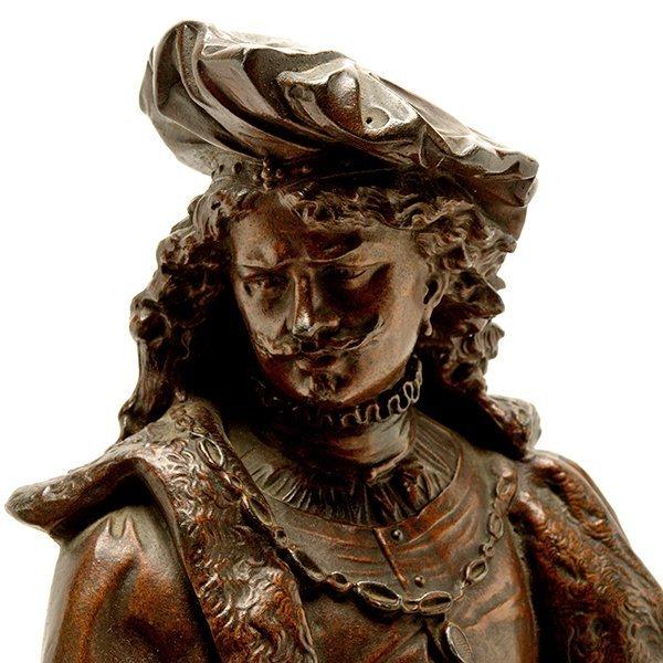 Pair of Patinated Bronze Figures of Renaissance - 6