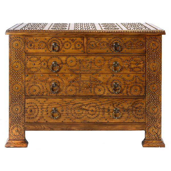 Arts & Crafts Boss Inlaid Oak Chest of Drawers