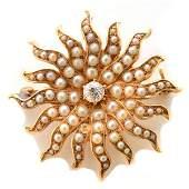 Victorian Diamond, Seed Pearl, 14k Yellow Gold Sunburst