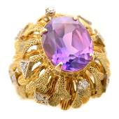 Synthetic Color Change Sapphire, Diamond, 14k Yellow