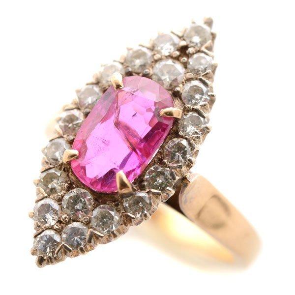 Victorian Pink Sapphire, Diamond, Silver-Topped, 14k