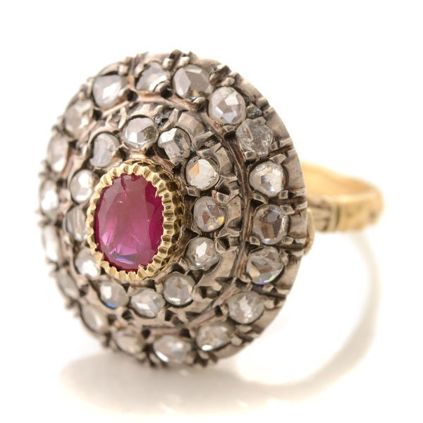 Victorian Ruby, Diamond, Silver-Topped, 18k Yellow Gold