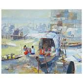 Continental School River Boat Market oil on canvas
