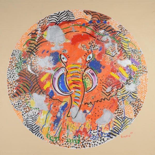 "Wayne Ensrud ""Elephant"" oil on canvas"