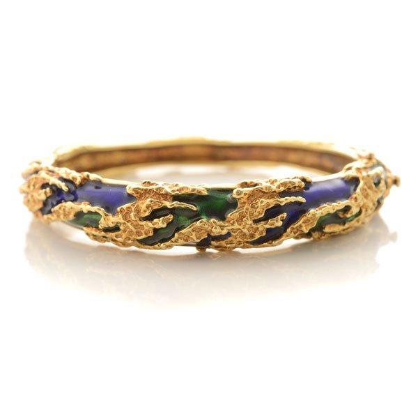 Tiffany & Co. Enamel, 18k Yellow Gold Bracelet.