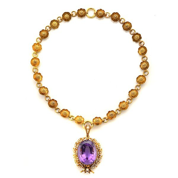 Victorian Amethyst, Seed Pearl, 15k Yellow Gold