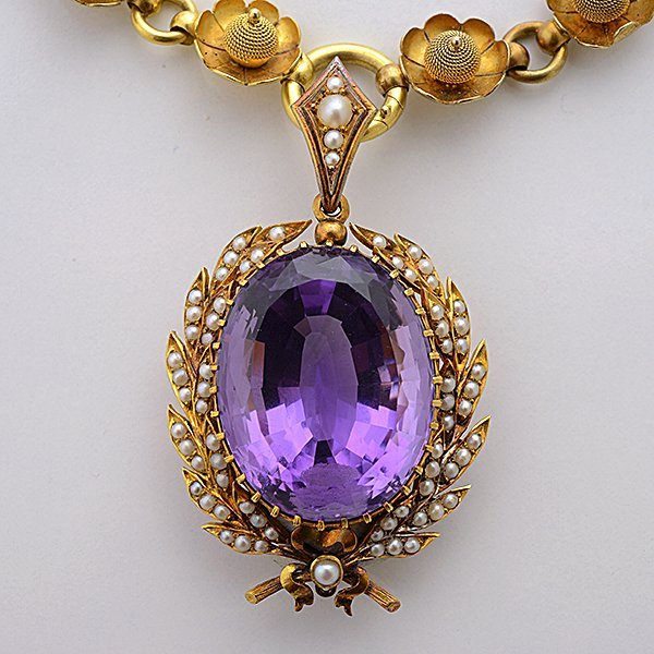 Victorian Amethyst, Seed Pearl, 15k Yellow Gold - 2
