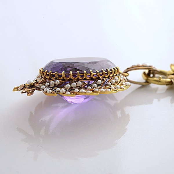 Victorian Amethyst, Seed Pearl, 15k Yellow Gold - 5