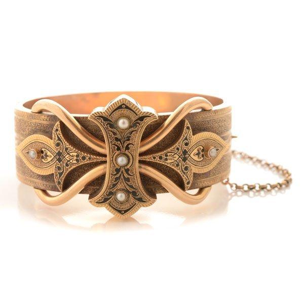 Victorian Pearl, Enamel, 14k Yellow Gold Bracelet.